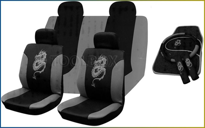 13pc Car Seat Cover Set Grey Dragon Universal
