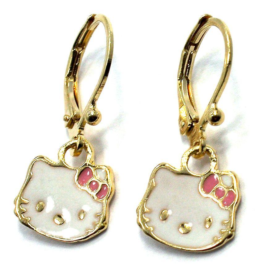 GF Earrings Pink Enamel Hello Kitty Leverback Dangle Girl Kids Teens