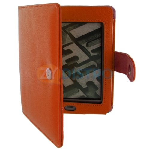 Leather Folio Case Cover Pouch for  Kindle Touch Reader