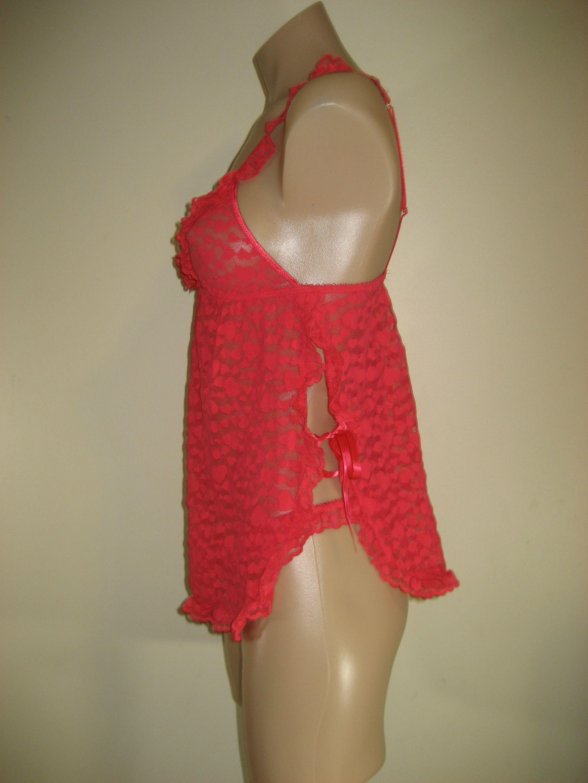 Victorias Secret *The LACIE* Nylon Red Heart Pattern Nightie & Pantie