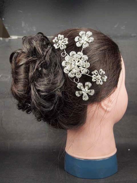 Bridal Crystal Rhinestone Headdress Headpiece Flower Hair Tiara Comb