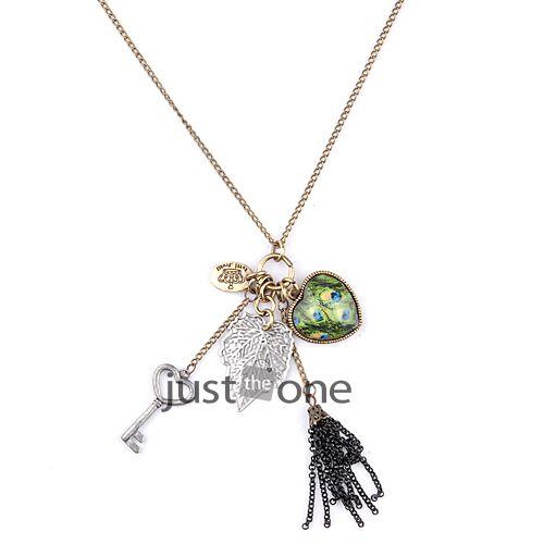 Chic Women Ladies Gorgeous Heart Multi Charm Pendants Long Necklace