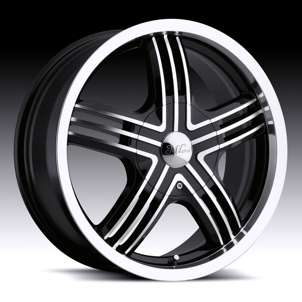 Black Milanni Stealth Wheels Rims 4 Lug Ford Focus Aveo Fit