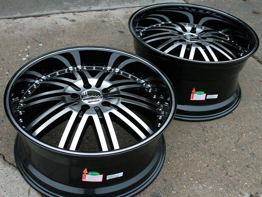 Menzari Z08 20 Black Rims Wheels Nissan 350Z Staggered