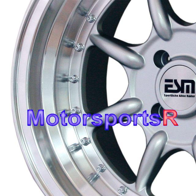 16 16x8 ESM 002 Silver Rims Wheels Deep Dish Step Lip Stance 4x100 BMW