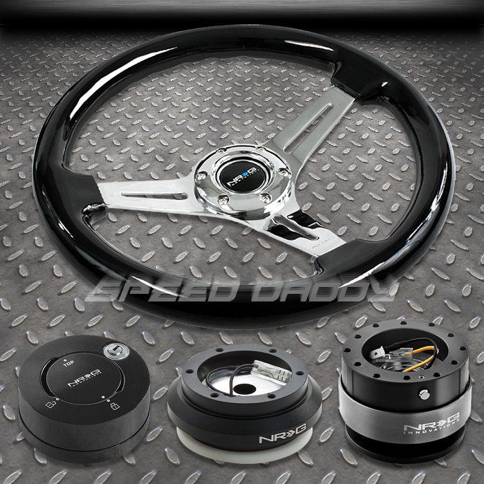 NRG Black Steering Wheel Hub Black Quick Release lb Lock Kit 96 11