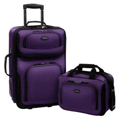 US Traveler Rio Two Piece Expandable Carry on Luggage Set Purple