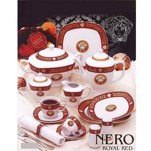 Porzellan Set 57 tlg. Da Vinci Nero rot gold Tafelserivce Geschirr