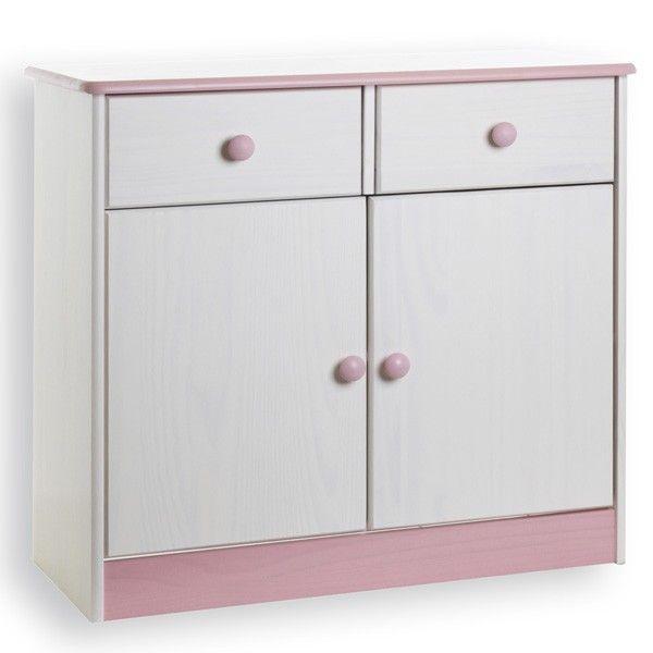 Kommode, Kiefer massiv, weiss rosa lackiert NEU