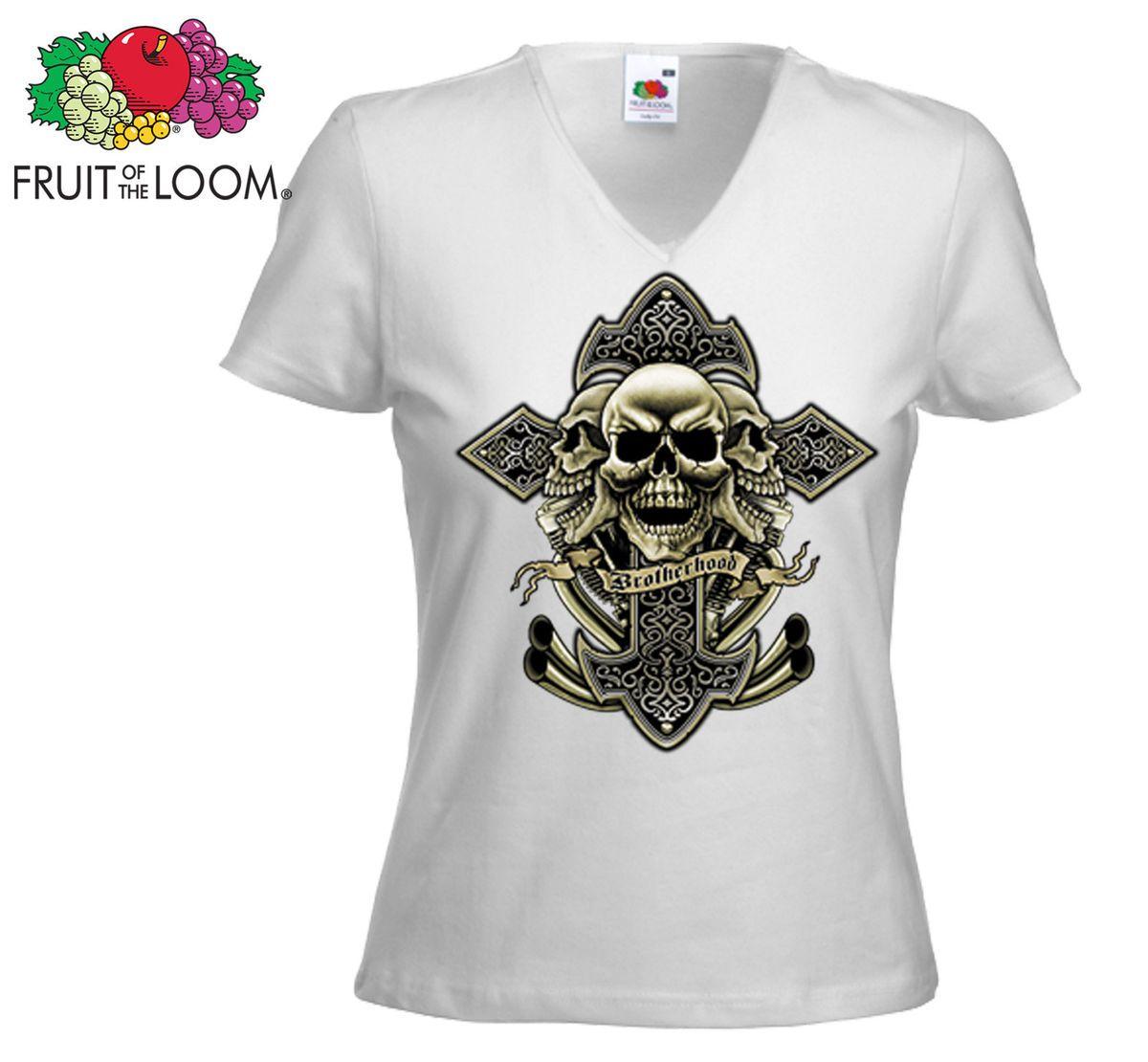 Biker Damen T Shirt Brother Hood weiß Harley Davidson Route66 Chopper