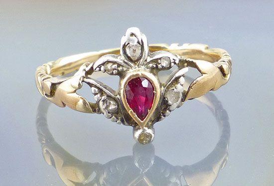 Antikschmuck 585er Gold & Silber Ring Diamantrauten & Rubin Rotgold