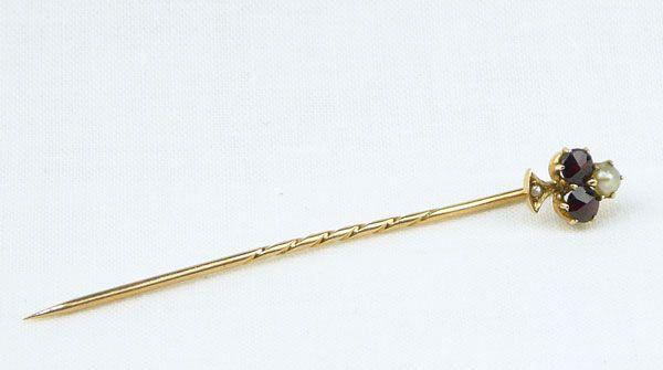 Antikschmuck Nadel Granaten Perlen Rot Gold 580 österr. Einfuhrpunze
