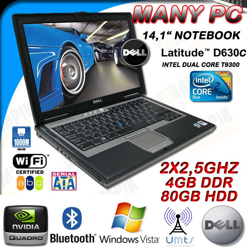Dell LATITUDE D630C Notebook T9300 Dual Core 2x 2 5GHz 4GB 80GB