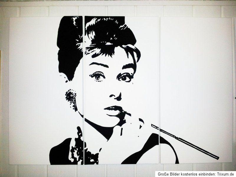 Audrey Hepburn Bild Pop Art Gemälde 80 X120cm Leinwand No Poster