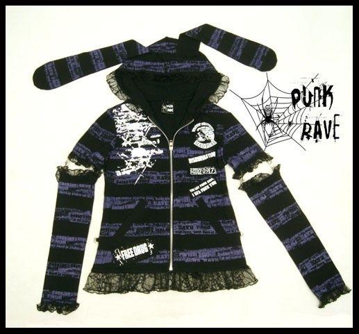 Fashion VISUAL PUNK Kera Gothic Hase Ohr hübsch Mantel T Shirt Top