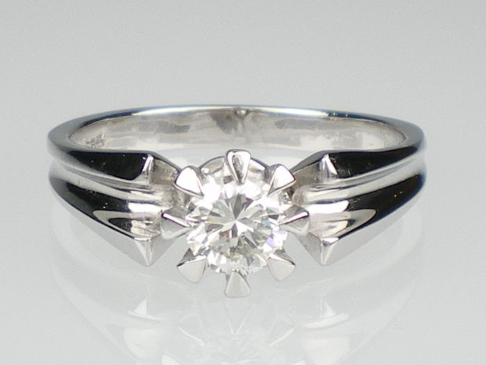 Solitär Ring 585 Weiss Gold Ring mit Brillant 0,5 ct TW IF